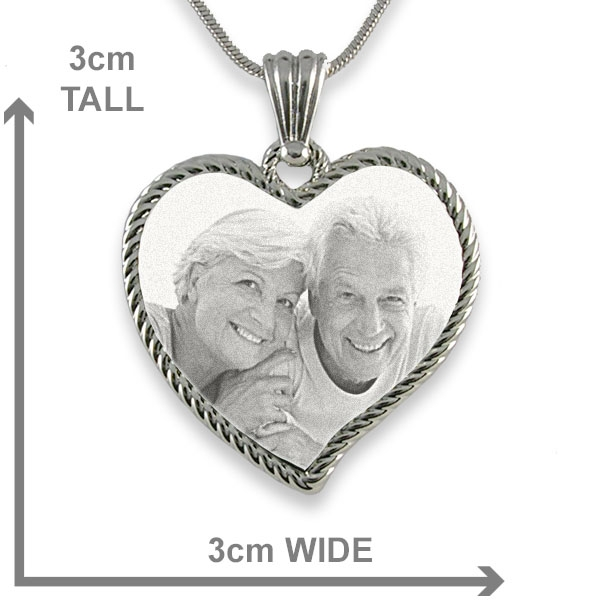Dimensions of Rhodium Medium Rope Edged Curved Heart Photo Pendant
