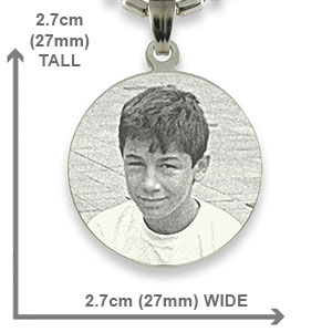 Dimensions of Rhodium Medium Round Photo Pendant