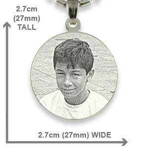Dimensions of Silver 925 Medium Round Photo Pendant