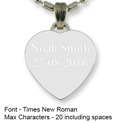 Engravable Back of Rhodium Small Heart Photo Pendant