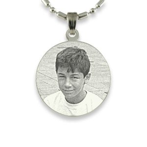 Rhodium Medium Round Photo Pendant