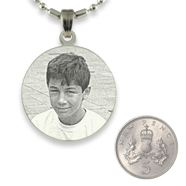 5p Scale of Rhodium Medium Round Photo Pendant