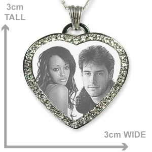 Dimensions of Silver 925 Diamante Photo Merged Heart Photo Pendant