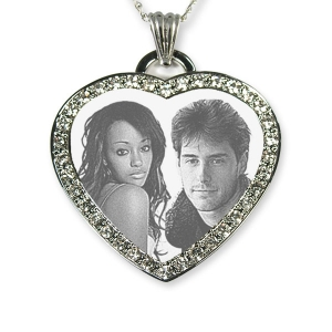 925 Silver Medium Diamante Heart Photo Pendant