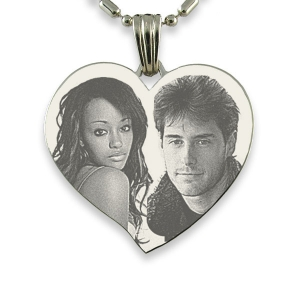 Silver 925 Large Curved Heart Photo Merged Pendant