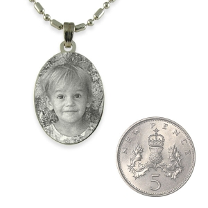 5p Scale of Silver 925 Mini Oval Photo Pendant
