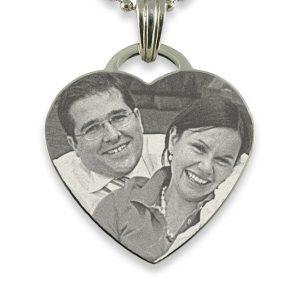 Silver Large Drop Heart Photo Pendant