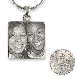 Silver 925 Square Photo engraved Pendant