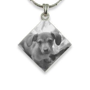 Silver 925 Diamond Drop Photo engraved Pendant