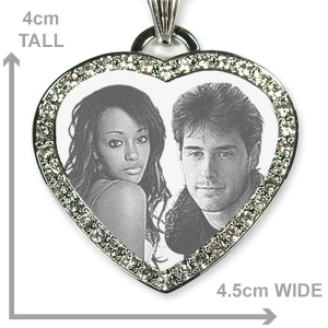 Dimensions of Silver 925 Large Diamante Photo Merged Heart