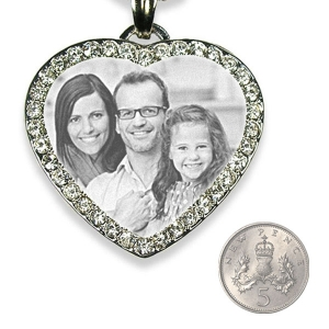 5p Scale Silver 925 Large Diamante Photo Merged Heart