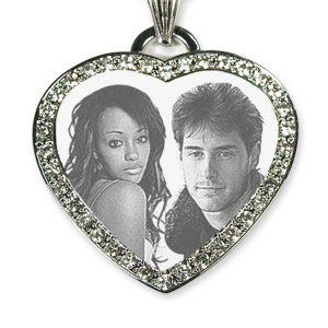Silver 925 Large Diamante Heart Photo Merged Pendant