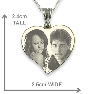 Dimensions of Silver 925 Medium Curved Heart Photo Merged Pendant