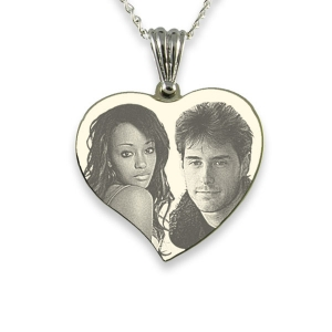 Photo Engraved Silver 925 Medium Curved Heart Photo Merged Pendant