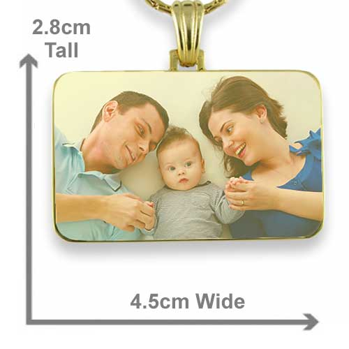Gold Plated Colour Family Rectangle Photo Pendant with measurements