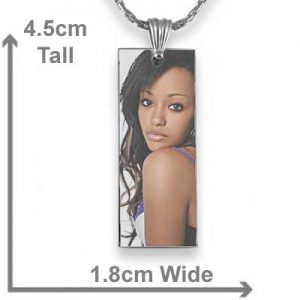 Long slim colour printed photo pendant with measurements