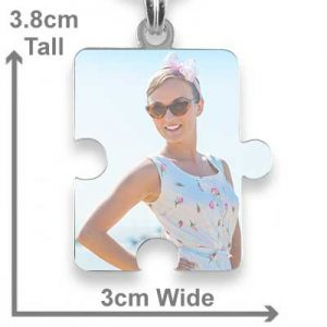Rhodium Plated Printed Colour Jigsaw Puzzle Photo Pendant with measurements