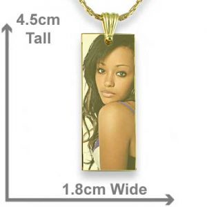 Gold Plated Colour Long Rectangle Photo Pendant with measurements