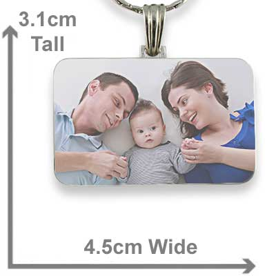 Rhodium Plated Colour Family Rectangle Photo Pendant with measurements