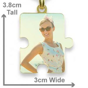 Gold Plated Colour Jigsaw Puzzle Photo Pendant with measurements