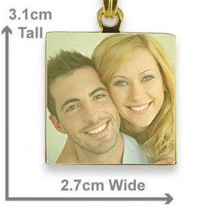 Gold Plated Small Colour Square Photo Pendant with measurements