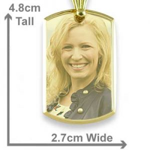 Gold Plate Large Deluxe Bevelled Colour Portrait Pendant with scale