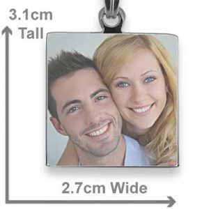 Square printed colour photo pendant with scale