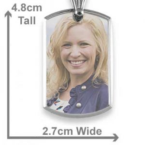 Bevelled printed colour portrait pendant with dimensions