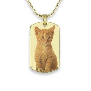 Gold Plate Small DogTag Colour Photo Pendant