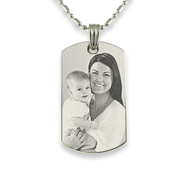 Rhodium Plate Small Portrait Photo Pendant