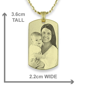 Gold plated Small Portrait Photo Pendant with measurements