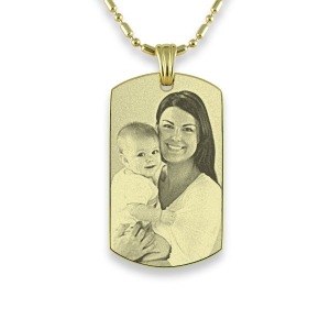 Gold plated Small Portrait Photo Pendant