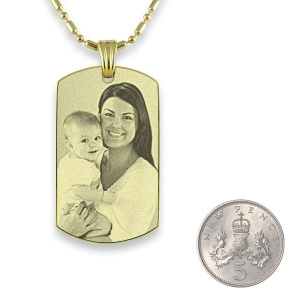 Gold plated Small Portrait Photo Pendant with 5p scale