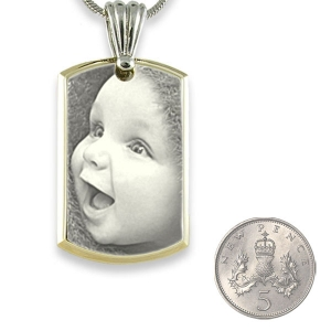 5p Scale Stainless Steel Medium Bevelled ID-Tag Photo Pendant