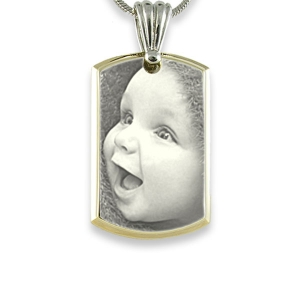 Stainless Steel Medium Bevelled ID-Tag Photo Pendant
