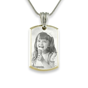 Engraved Face of Small Stainless Steel Bevelled ID-Tag Photo Pendant