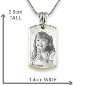 Dimensions Small Stainless Steel Bevelled ID-Tag Photo Pendant