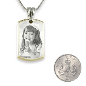 5p Scale Small Stainless Steel Bevelled ID-Tag Photo Pendant