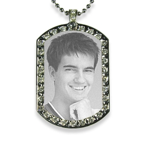 Face of Stainless Steel Medium Diamante ID Tag Photo Pendant