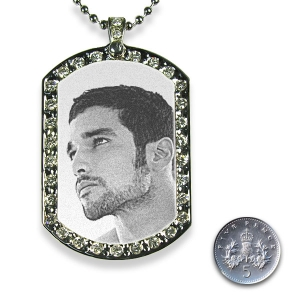 5p Scale Stainless Steel Medium Diamante ID Tag Photo Pendant