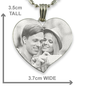 Dimensions of Stainless Steel Large Curved Heart Photo Pendant