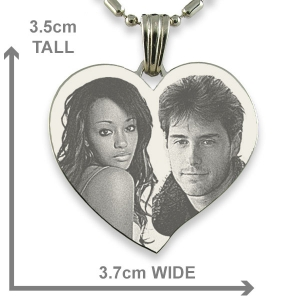 Dimensions of Stainless Steel Large Heart Photo Pendant