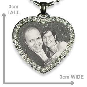Dimensions of Stainless Steel Diamante Heart Photo Pendant
