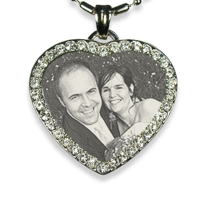 Engraved Face of Stainless Steel Diamante Heart Photo Pendant