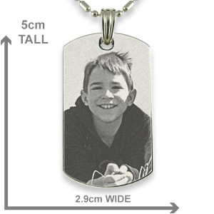 Dimensions of Stainless Steel Large ID-Tag Photo Pendant