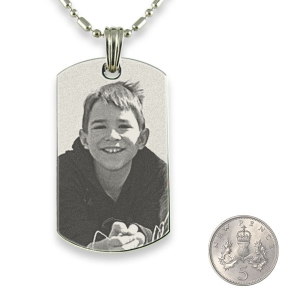 5p Scale Stainless Steel Large ID-Tag Photo Pendant