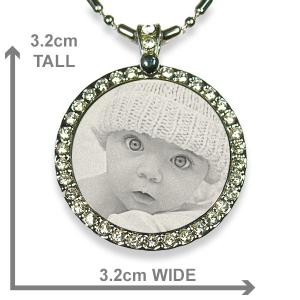 Dimensions of Stainless Steel Diamante Photo Pendant