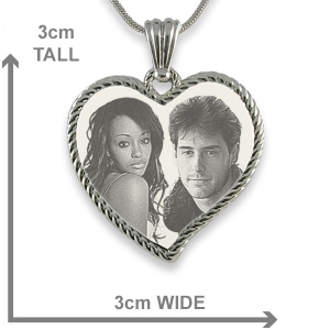 Dimensions of Stainless Steel Large Rope Edged Curved Heart Photo Merged Pendant