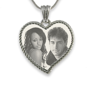 Stainless Steel Large Rope Edged Curved Heart Photo Merged Pendant