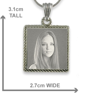 Dimensions Stainless Steel Rope Edged Square Photo Pendant